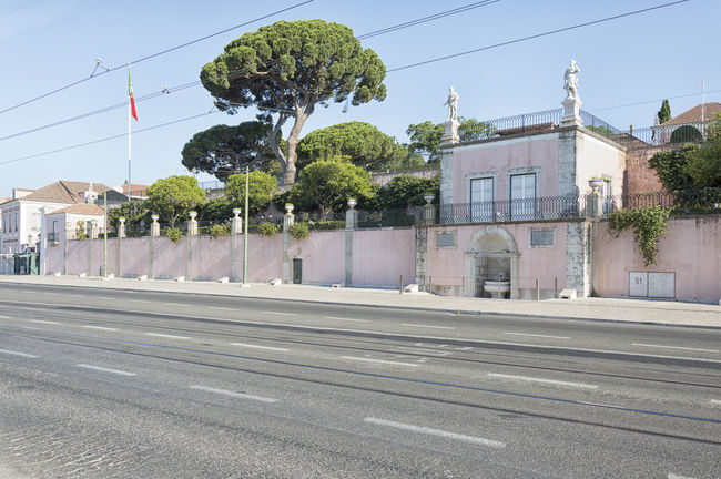 Architecture Belém Building Exterior Built Structure Cable City City Life Clear Sky Day Empty Lisbon Long No People Outdoors Pink Portugal Power Line  President Road Sky Street Town Transportation Tree