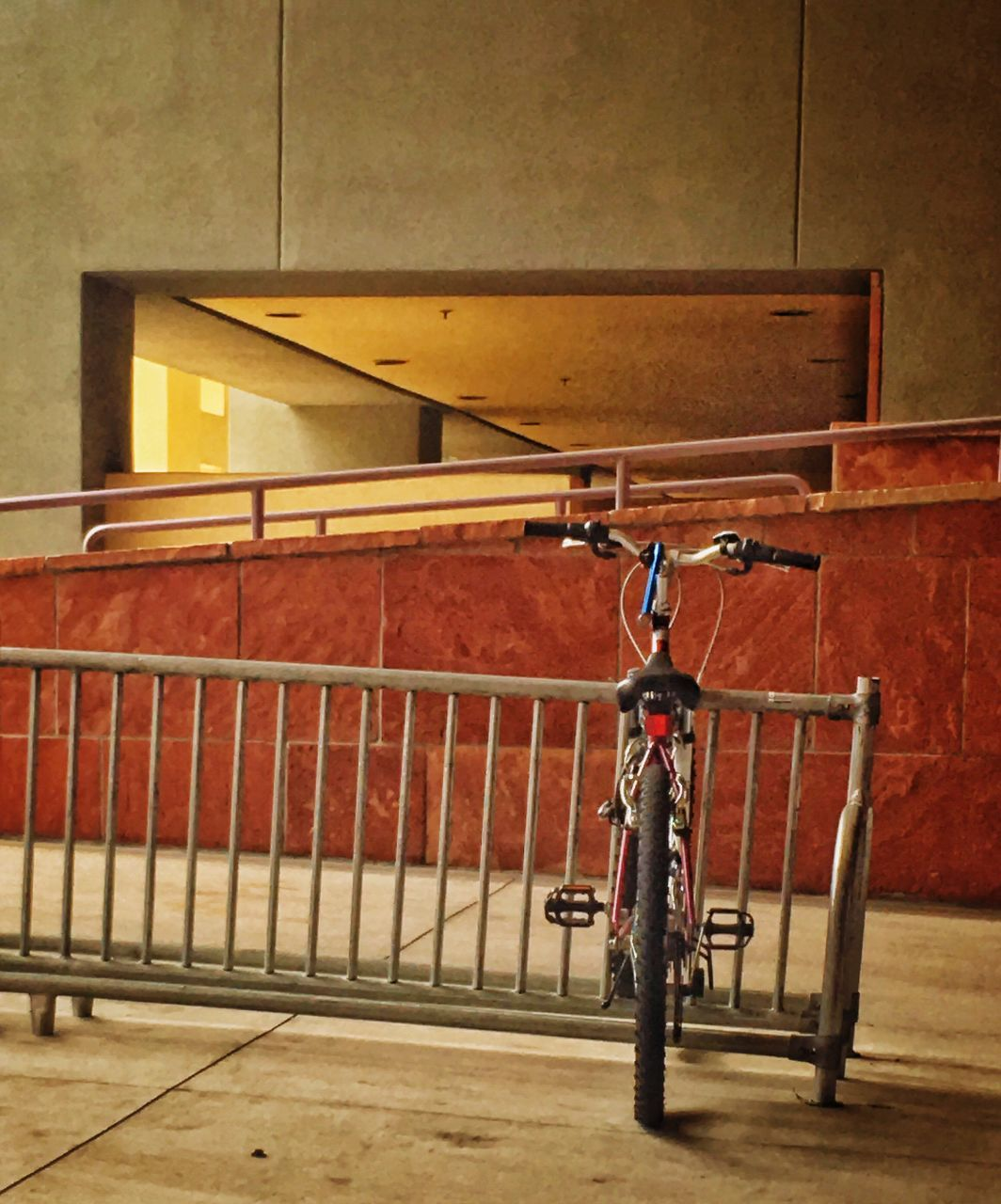 bicycle, transportation, hanging, no people, railing, architecture, built structure, stationary, indoors, day, close-up