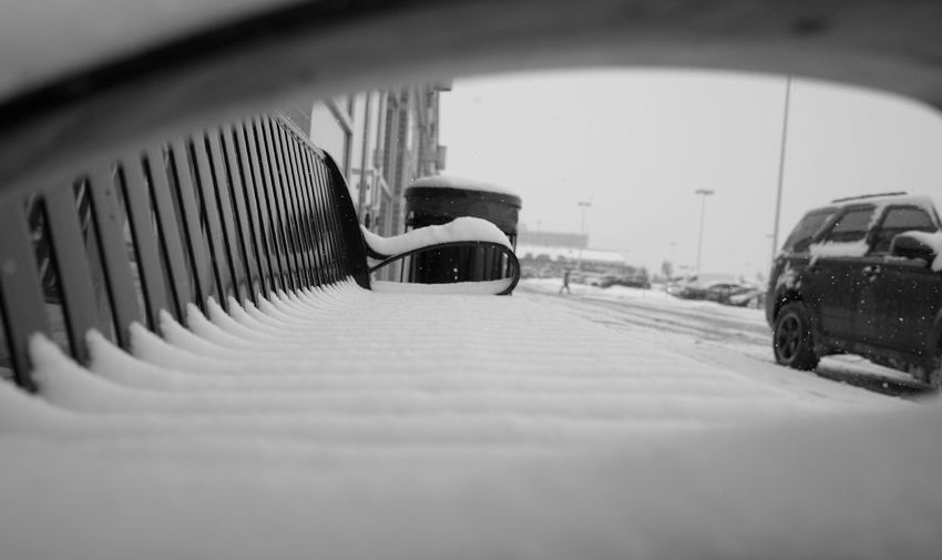 snow covered bench Snow Blackandwhite Monochrome Contrast Ricoh Gr Bench Winter Cold Car Transportation Mode Of Transport Winter Built Structure Snow No People City Architecture Outdoors Day