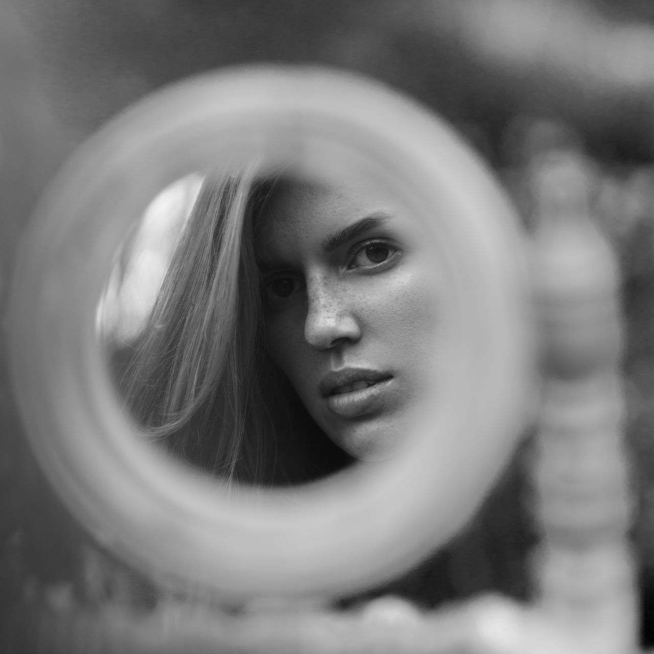 https://www.instagram.com/eglelaurinavice/ Beautiful Woman Blackandwhite Bokeh Close-up Day EyeEm Best Shots Eyes Face Freckles Girl Lips Mirror Natural Light Portrait One Person Outdoors People Portrait Of A Woman Real People Skin Woman Young Adult Young Women