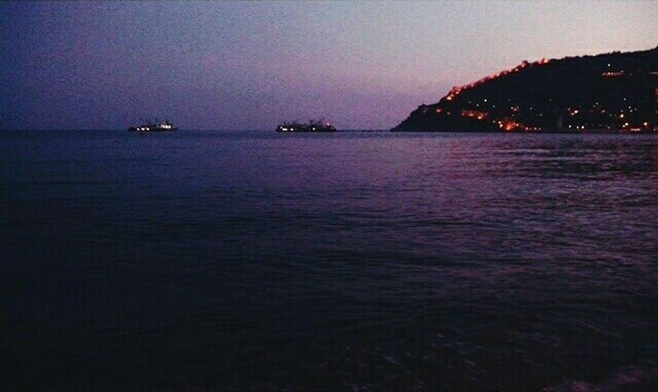 Alanya Tb Alanya/Turkey Sea Sunset Sky No People Outdoors Water Nature Night Sea And Sky Night View Night Life Nightlights Seascape Sea Life
