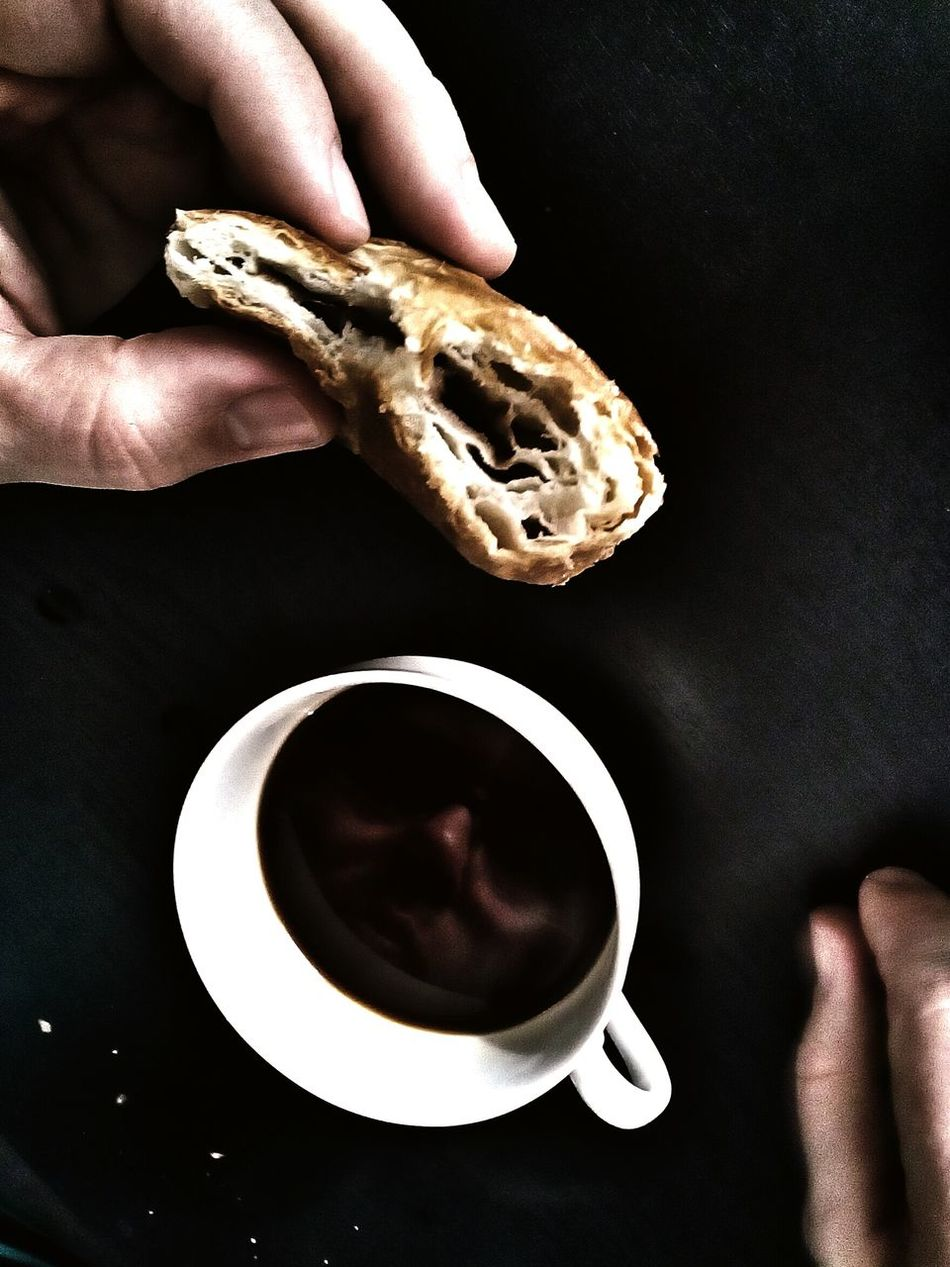 Coffee Time Coffee Coffee Break Croissant Face Reflection Man Sweet Tasty Black Man Hands White Cup Black Table Pastry Offal My Favorite Breakfast Moment