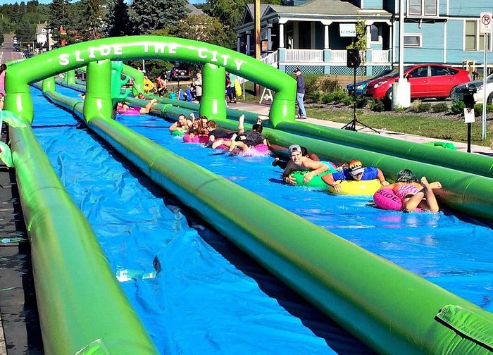 Slide-the-City, a slip and slide came to Duluth, MN Fun Water Wet