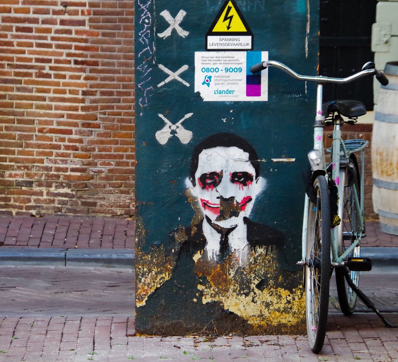 Street Art Brick Wall Human Representation Outdoors Built Structure Bike
