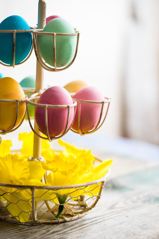 Tray with Easter eggs Close-up Colorful Colorfull Colorfull4 Easter Easter Eggs Easter Eggs On Display Easter Ready Flower Focus On Foreground Group Of Objects Holiday Multi Colored Narcissus No People Retail  SLICE Surface Level