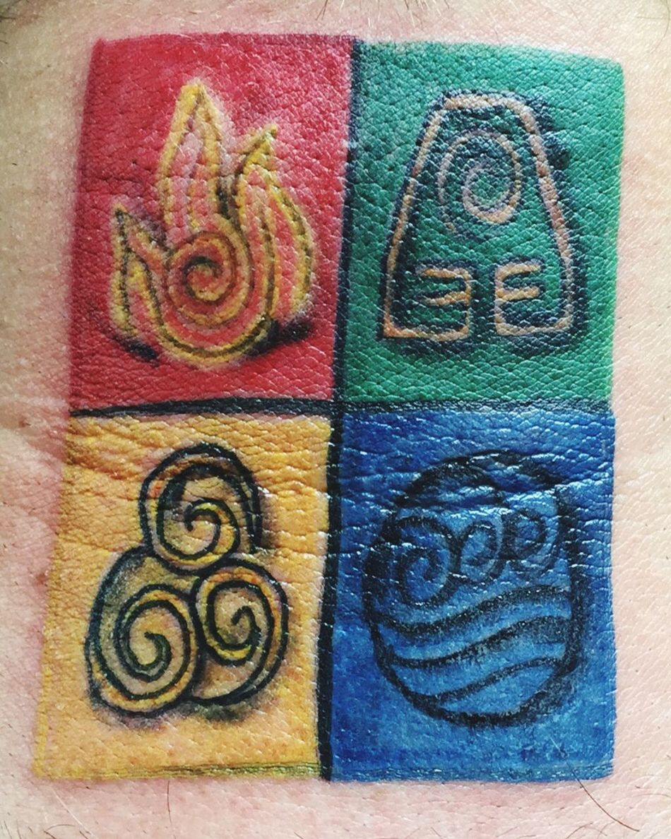 My Avatar The Last Airbender Tattoo of the four Elements Red Fire for the Fire Nation Green for the Earth Kingdom Yellow for the Air Nomads and Blue for the Water Tribe