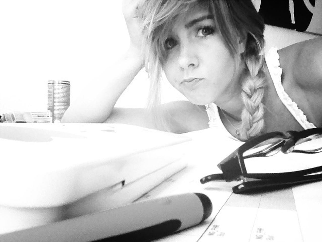 Studying is just so fucking annoying -.-' Glasses Blackandwhite Eye4photography  Studying Braid Pouting Pen