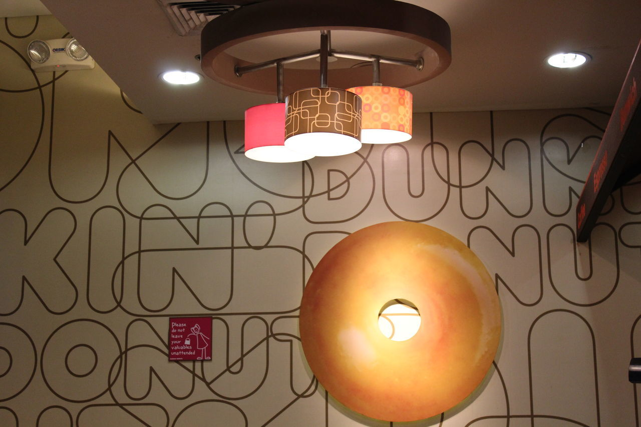 Decoration Design Electric Light Hanging Ideas Illuminated Indoors  Interior Design Dunkin Donuts Interior Donuts Big