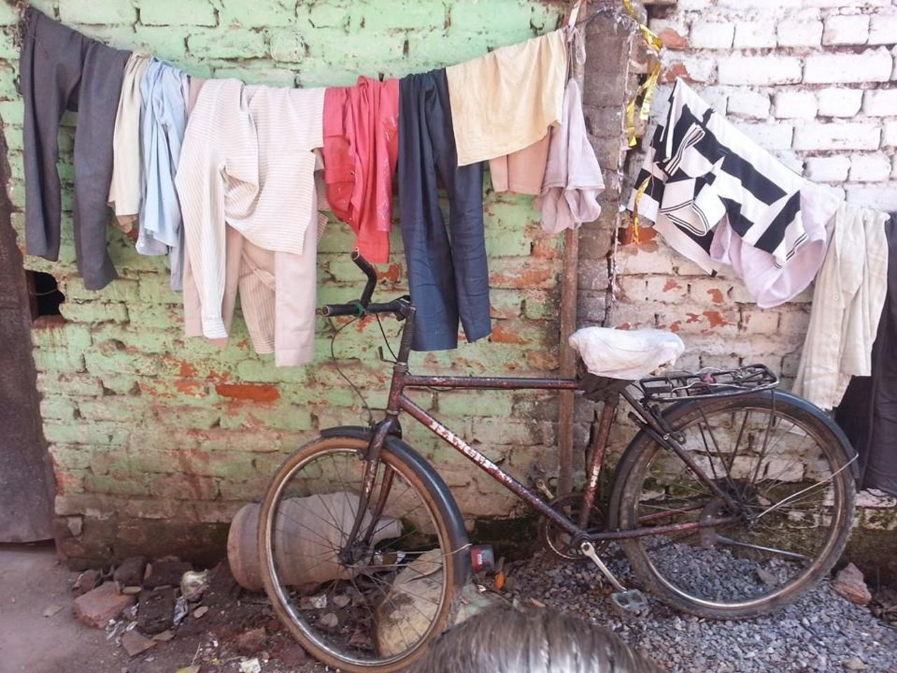 clothing, bicycle, no people, day, outdoors, architecture