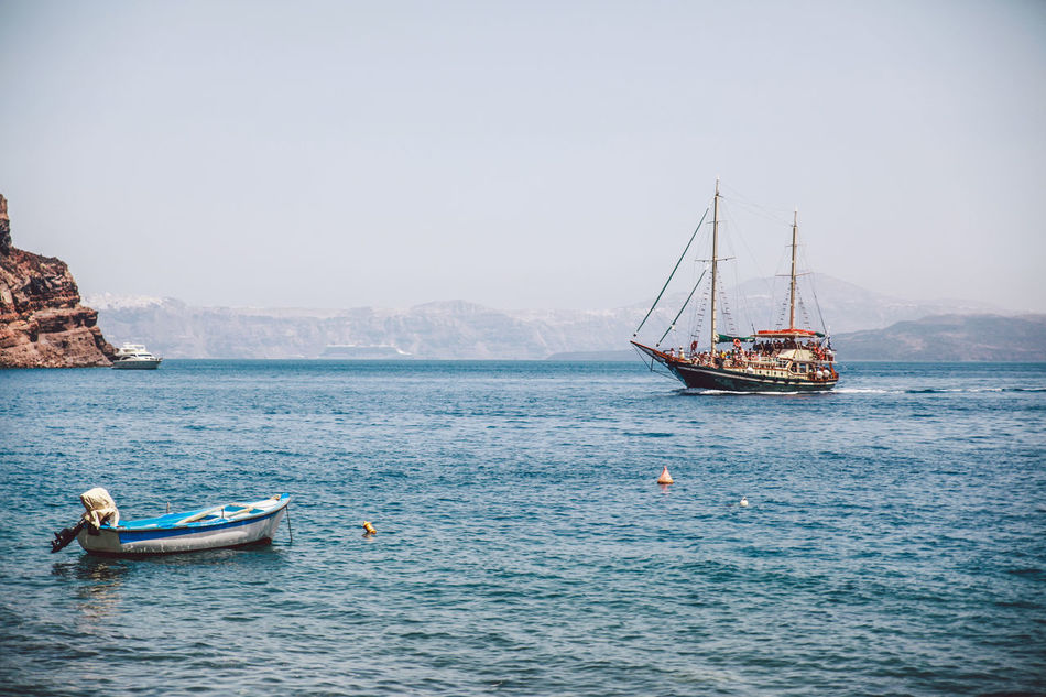 Beautiful stock photos of greece, Beauty In Nature, Boat, Clear Sky, Copy Space