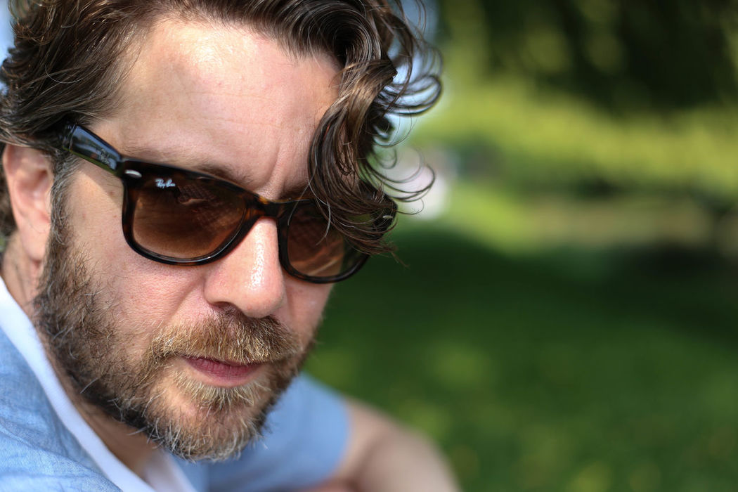 Summer Days Beard Close-up Eyeglasses  Headshot Human Face Nature One Man Only Outdoors Park RayBans® Real People Husband Sunglasses Summertime Summer Afternoon Canon6d Canonphotography Canon6dphotos Portrait Lens