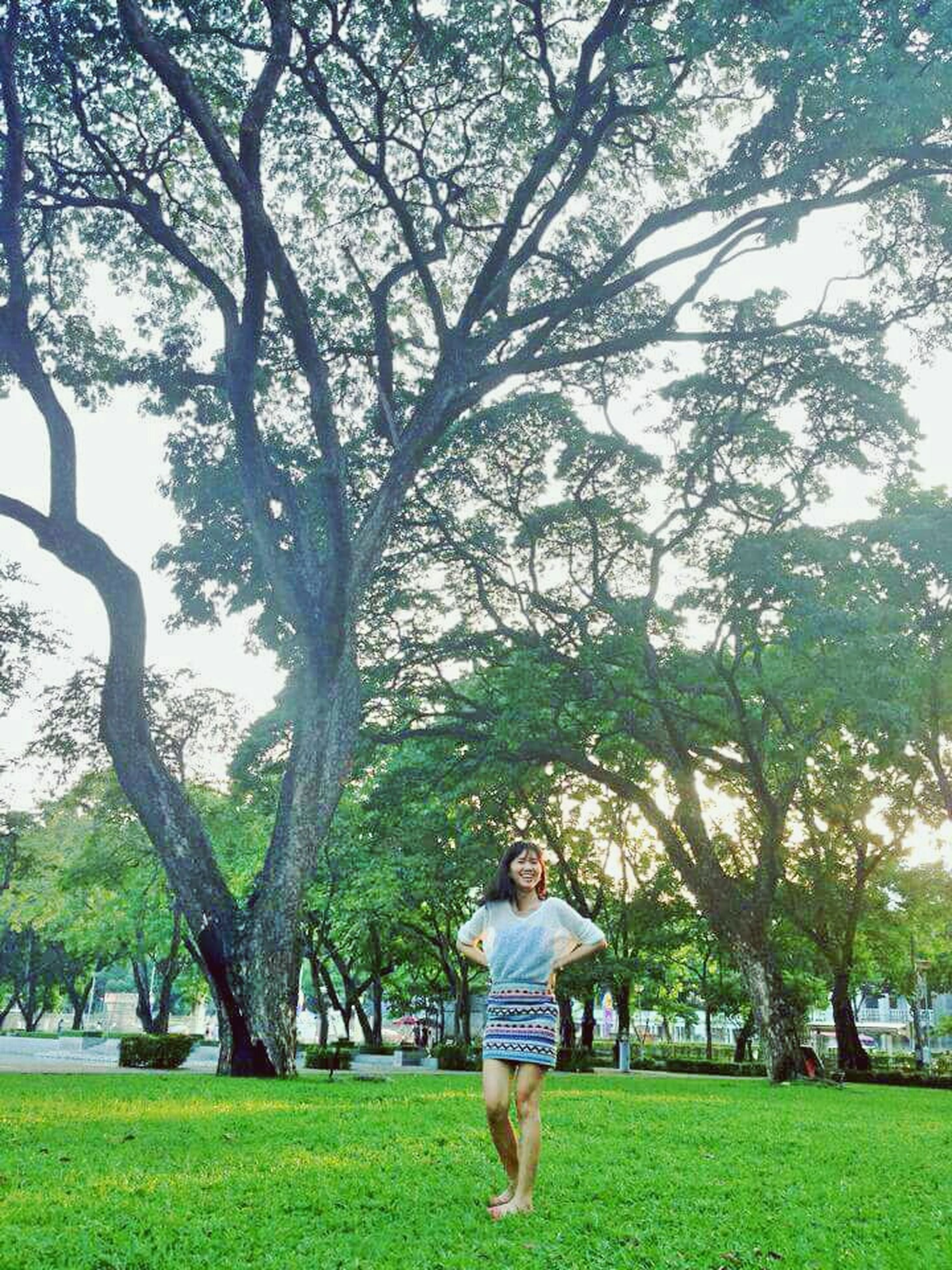 tree, grass, full length, lifestyles, casual clothing, leisure activity, childhood, rear view, park - man made space, girls, green color, elementary age, togetherness, boys, growth, bonding, love
