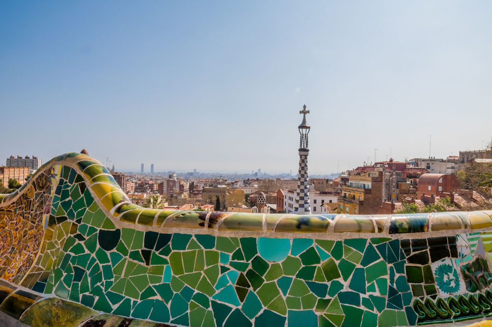 Outdoors Sky No People Day Water Slide España Cityscapes Portrait Of A City Barcelona Horizontal Panoramic Panorama Mosaic Textures And Surfaces Sunny Day Urban Landscape Cityscape Ciudad Architecture View From Above Urban Skyline Panorámica City Street City Park Güell, Barcelona