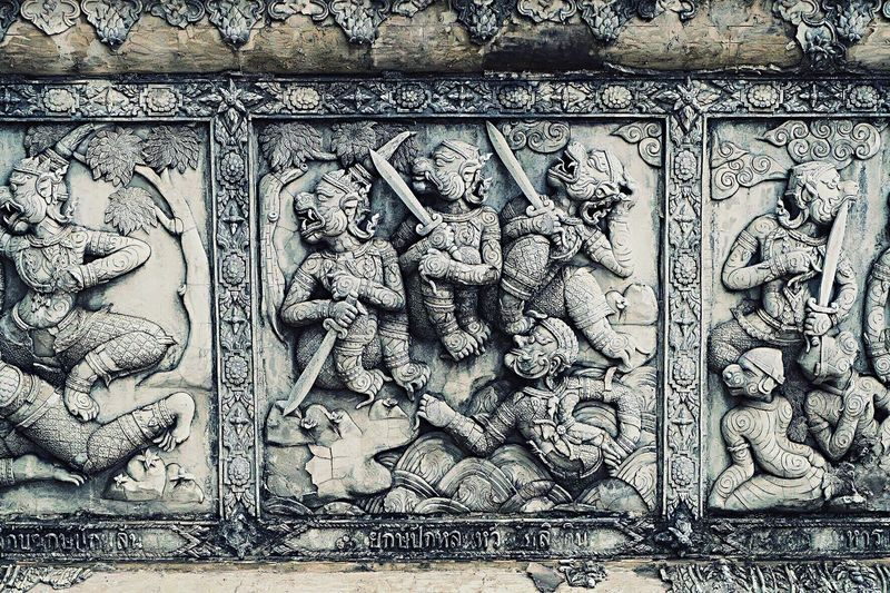 Architecture History Stone Material Travel Destinations Mythology Building Exterior Bas Relief Carving - Craft Product Close-up Built Structure Sculpture Outdoors Ancient (null)Ancient Civilization Religion Budhism Temple Budhist Temple Budhastatue Thailand Wall Sculpture Wall