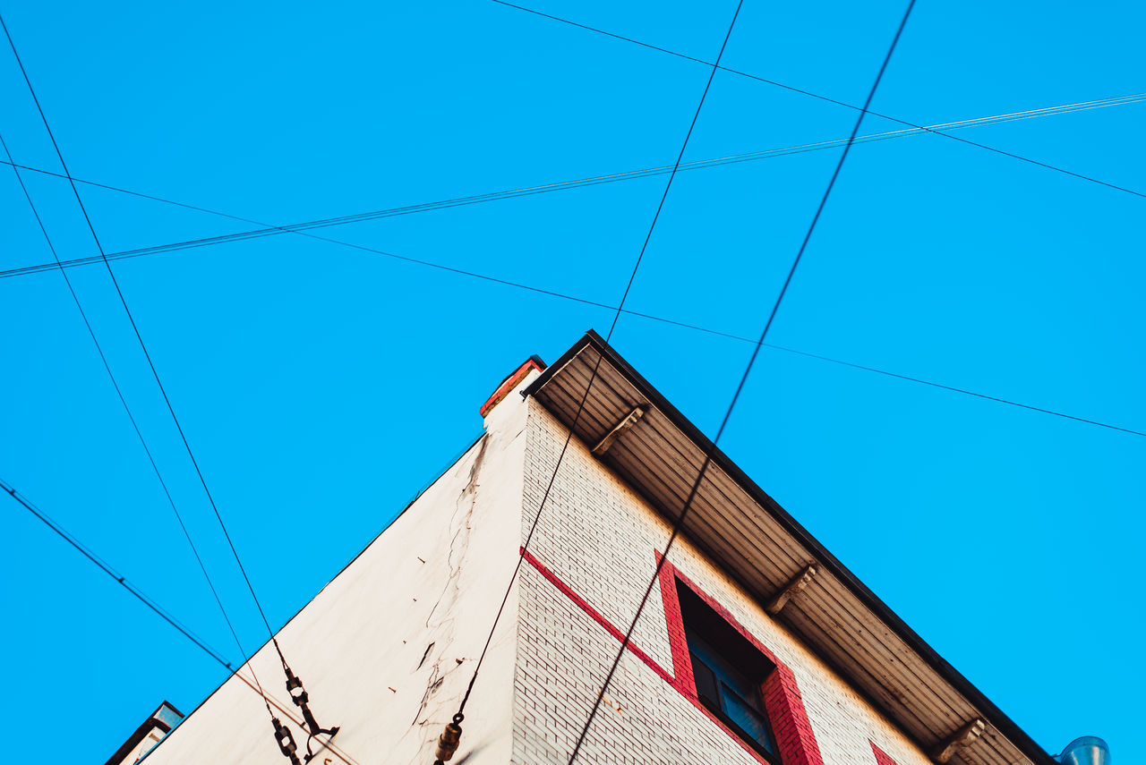 Beautiful stock photos of architecture, low angle view, blue, built structure, cable
