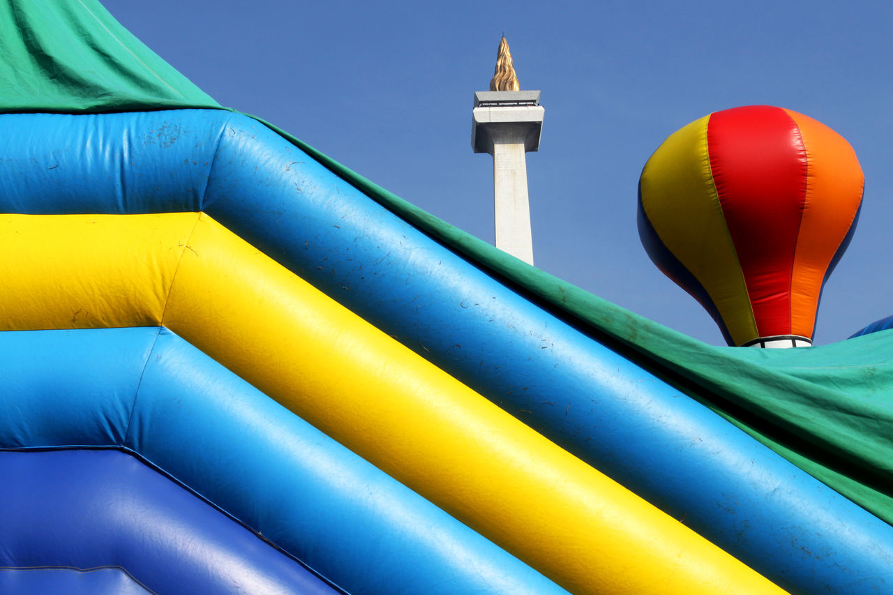 Play Ground at Monas Monument Jakarta Architecture Architecture Build Structure City Cityscape Clear Sky Day Jakarta Low Angle View Monas Monument Multicolor National Monument No People Outdoors Sky Tall Tourism Travel Travel Destinations