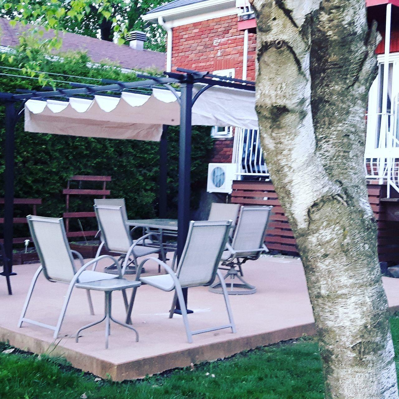 Chair Table Arrangement Pergola Outdoors Backyard Granby