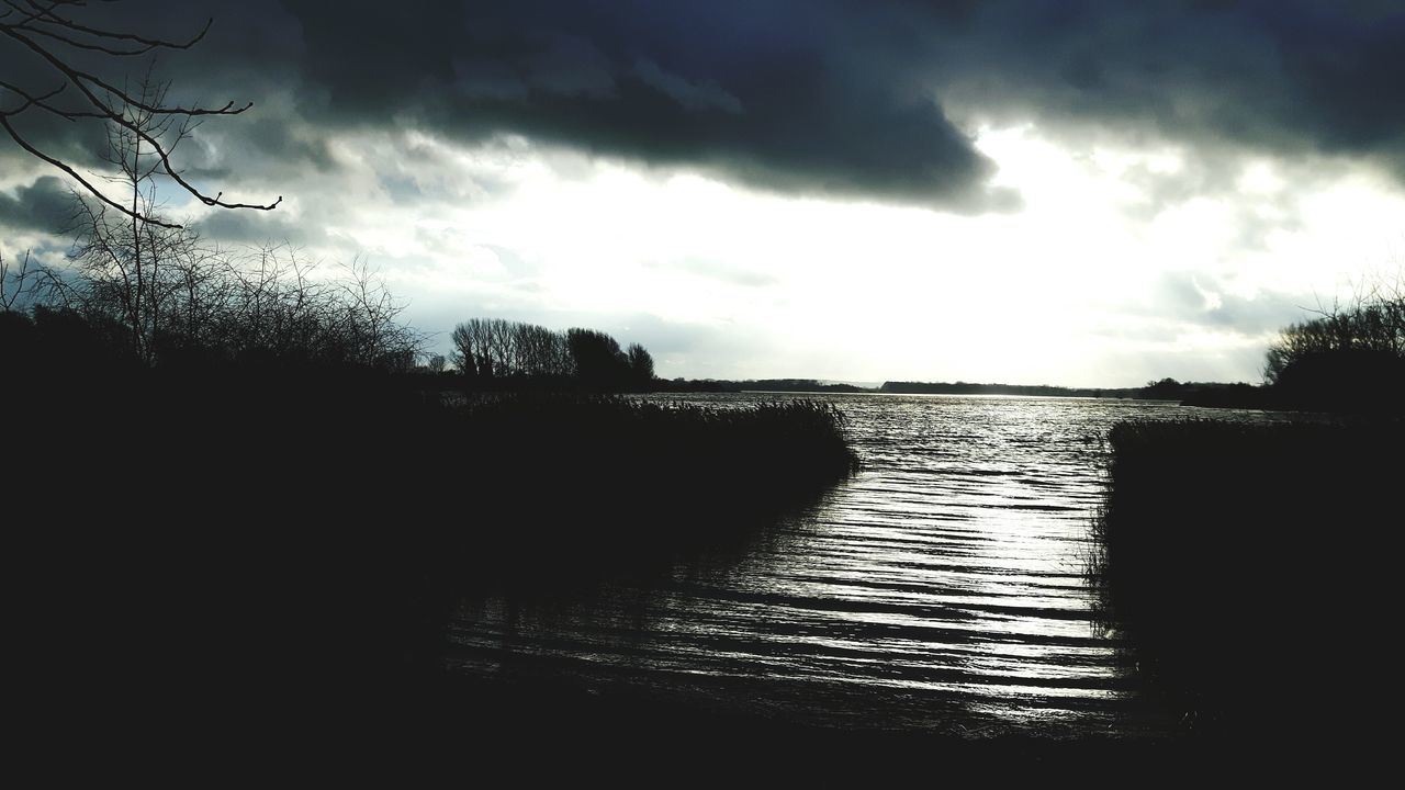 cloud - sky, sky, water, no people, tree, nature, silhouette, tranquil scene, tranquility, beauty in nature, scenics, outdoors, sea, day