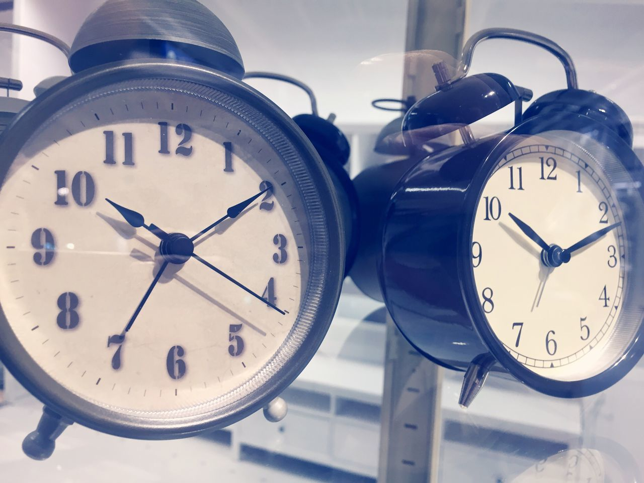 Time Clock Minute Hand Alarm Clock Clock Face Number Hour Hand Instrument Of Time Close-up No People Indoors  Two Clocks Alarm Clocks