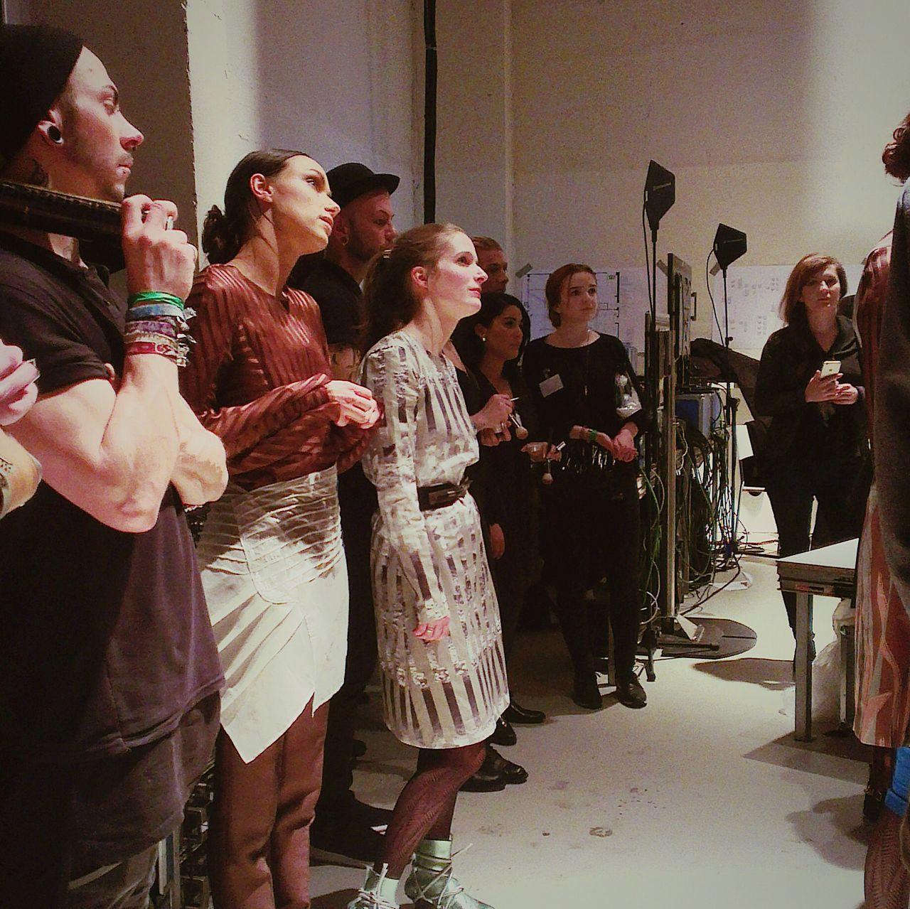 Designer Clara Kaesdorf and Models getting ready for their show at Berlin Fashion Week Fashionweek 2015 Berlin ClaraKaesdorf Sustainability Urban Style Fashion Design Runway