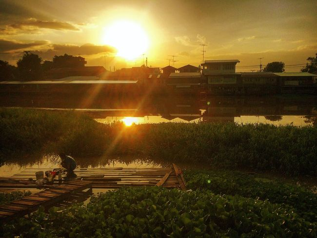 Colour Of Life Magic Moments Sunset On The Water River View Local Lifestyle Simple Moment Countryside Double Action Thaistyle Thaisky Battle Of The Cities