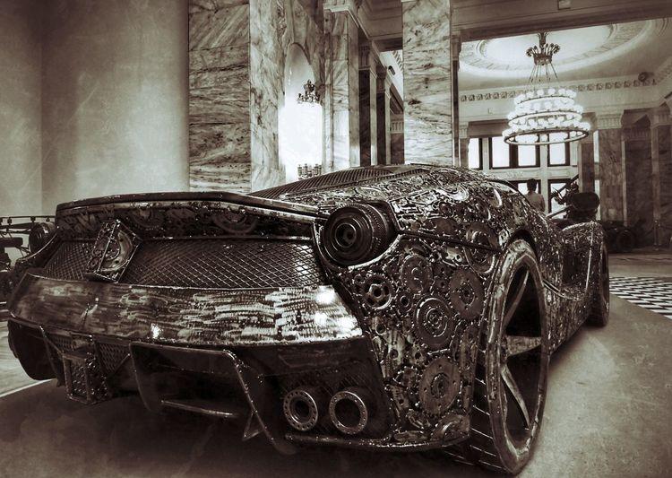 Indoors  Car Cars Metal Sculpture Ferrari Metalsculpture Pkin Wystawa Figur Stalowych