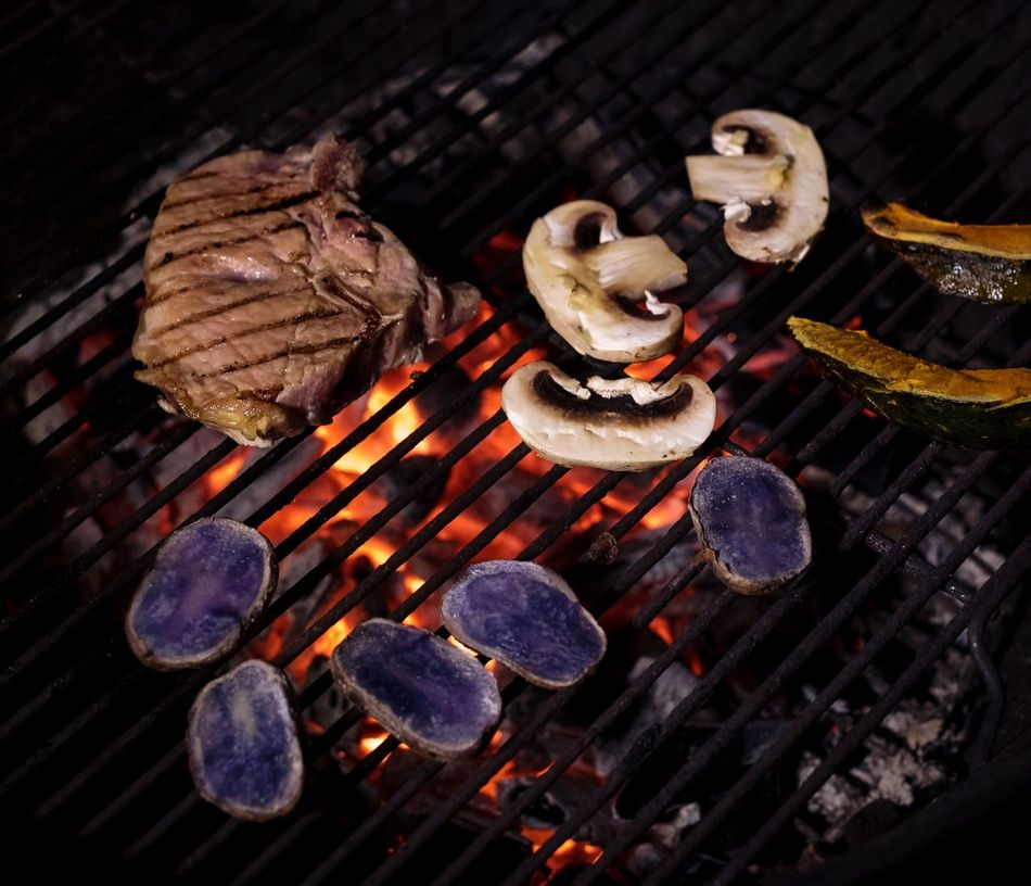 Barbecue Barbecue Grill Flame Food Food And Drink No People Wood - Material Barbecue Meat Grilled Close-up Heat - Temperature Outdoors Day Fire Pit Meat Mushrooms