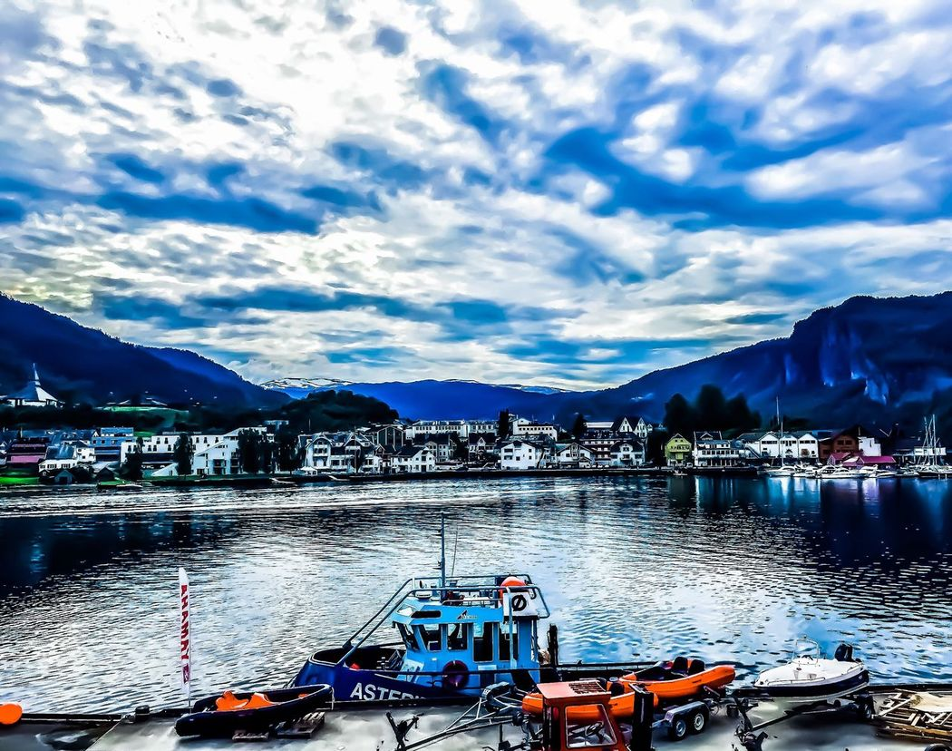 EyeEmNewHere Cloud - Sky Sky Mountain Nautical Vessel Mode Of Transport Transportation Water Boat Outdoors Day Nature Building Exterior Moored Built Structure Architecture Scenics Tranquility Sea Mountain Range Beauty In Nature beauty of Norheimsund 😛 🏞☁️