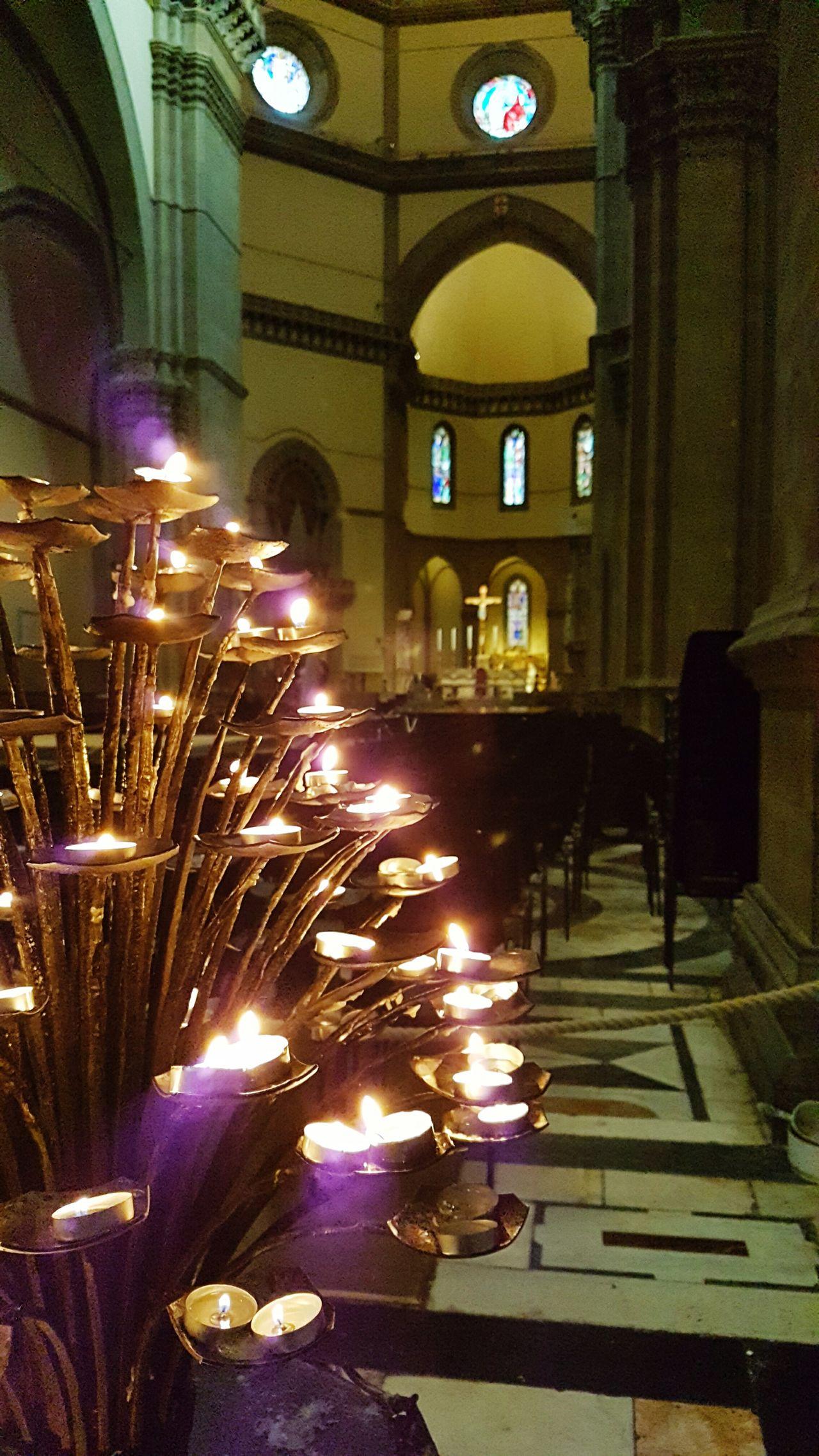 Candles burning. Religion Spirituality Place Of Worship Indoors  Illuminated No People Italy🇮🇹