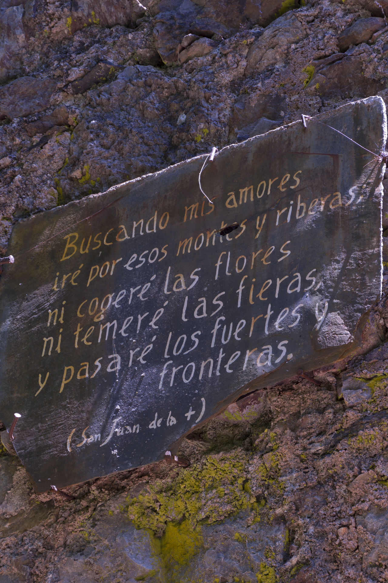 Beauty In Nature Close-up Day Monastery Mountain Nature No People Non-urban Scene Outdoors Peace Peace And Quiet Poem Poetry Rock Rock - Object Stone Wall Text Tranquility Western Script San Juan De La Cruz Verse Verses Tile Wall Stone