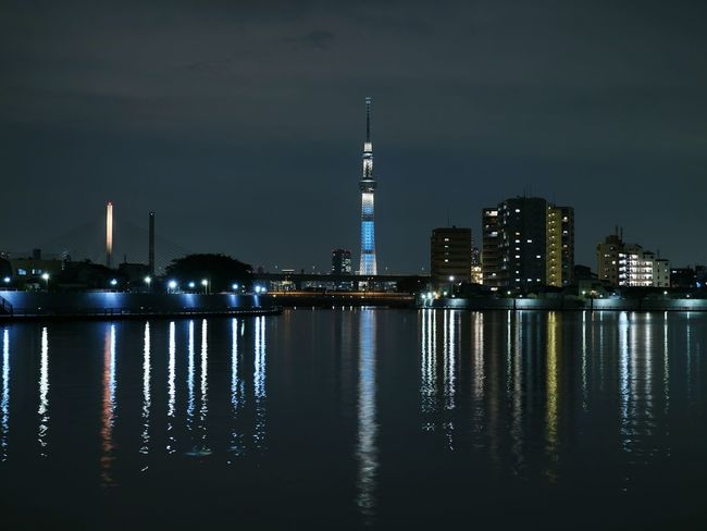 Night Reflection Water Japan Tokyo Tower Skytree Tokyoskytree Night View Nightscape Nightphotography Reflection