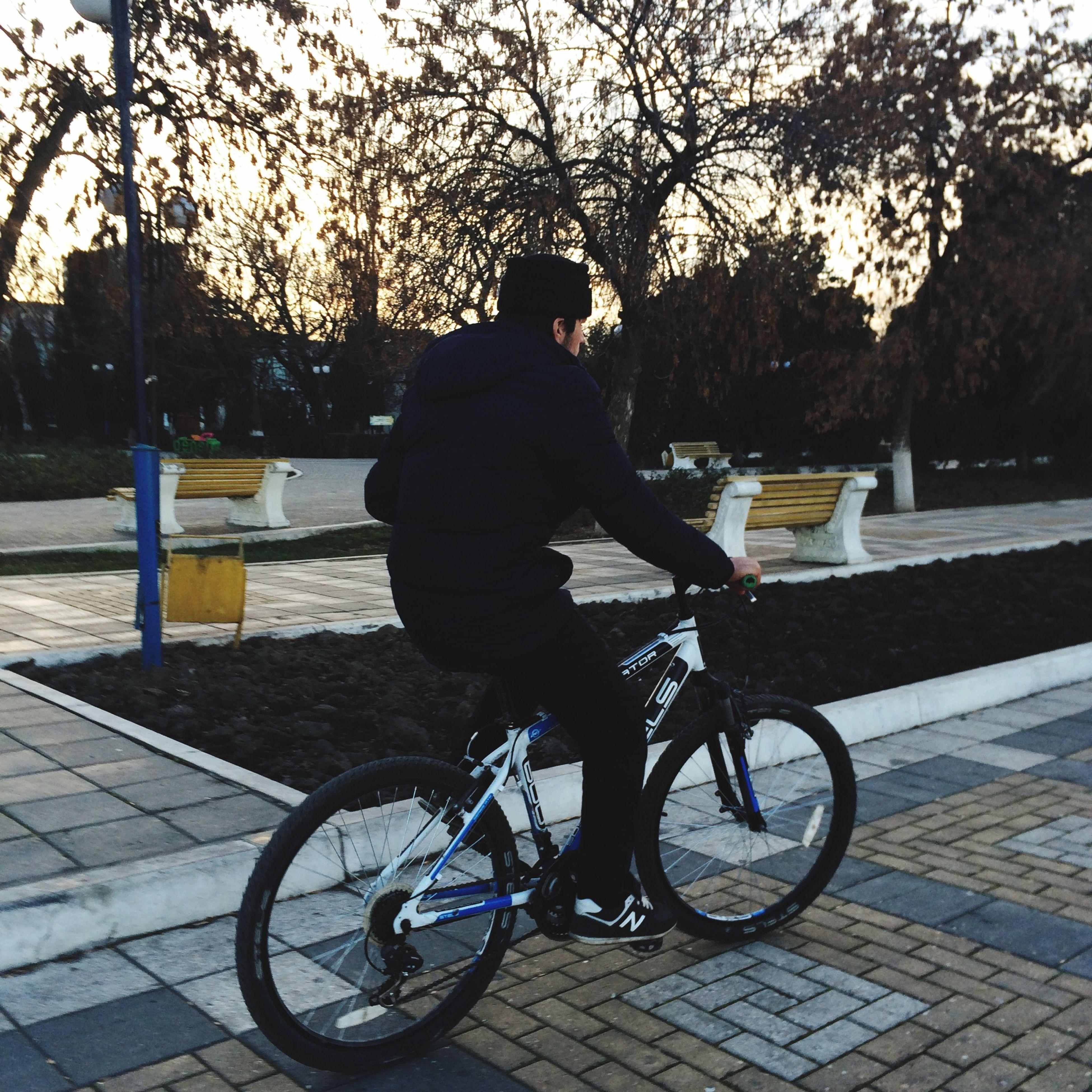 tree, bicycle, lifestyles, transportation, sidewalk, leisure activity, street, full length, mode of transport, footpath, bench, shadow, sunlight, land vehicle, men, city, railing, park - man made space