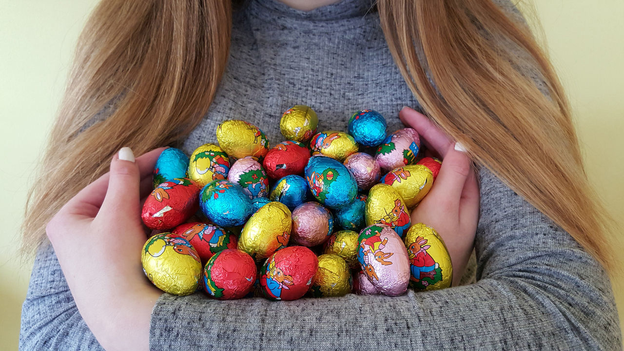 Chocolate Eggs Colourful Cropped Easter Eggs Easter Eggs On Display Easter Ready Easter Sunday Girl Holding Indoors  Long Hair Mine!  Plenty Shiny Things