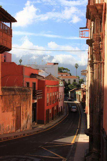Architecture Blue Sky Building Exterior Built Structure City Cloud - Sky Day Garachico Medieval Architecture No People Outdoors Red Road Sky Tenerife Transportation