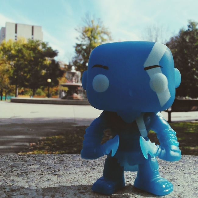 Sky Sunny Outdoors Day Surface Level Focus On Foreground Hobbies Tranquil Scene Kratos Godofwar Rage Outdoor Play Equipment Funkopopvinyl Popfunko Godofwarcollection Vibrant Color Blue Imagination Front View Close-up Bluesuit Exclusive  Newyorkcomiccon Amazing Still Life