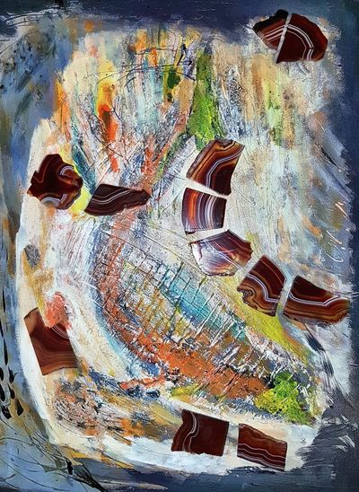 Abstract Painted Image Multi Colored Gemstoneart Oil Painting With Gemstones Kunsthaus_Lay