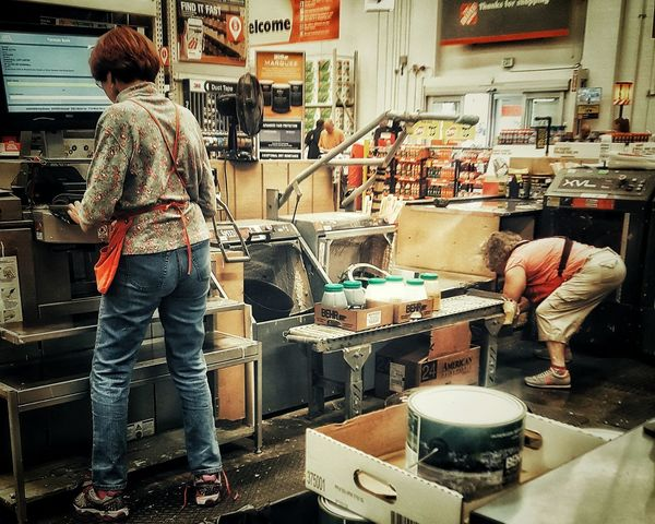 People Together Showcase July 43 Golden Moments Hidden Gems  EyeEm Best Shots EyeEm Best Edits Taking Photos Hello World Check This Out From My Point Of View Hanging Out Store At The Store Home Depot People Workers Home Improvement Department Shop Paint Home Tools Employees Hard At Work People Working
