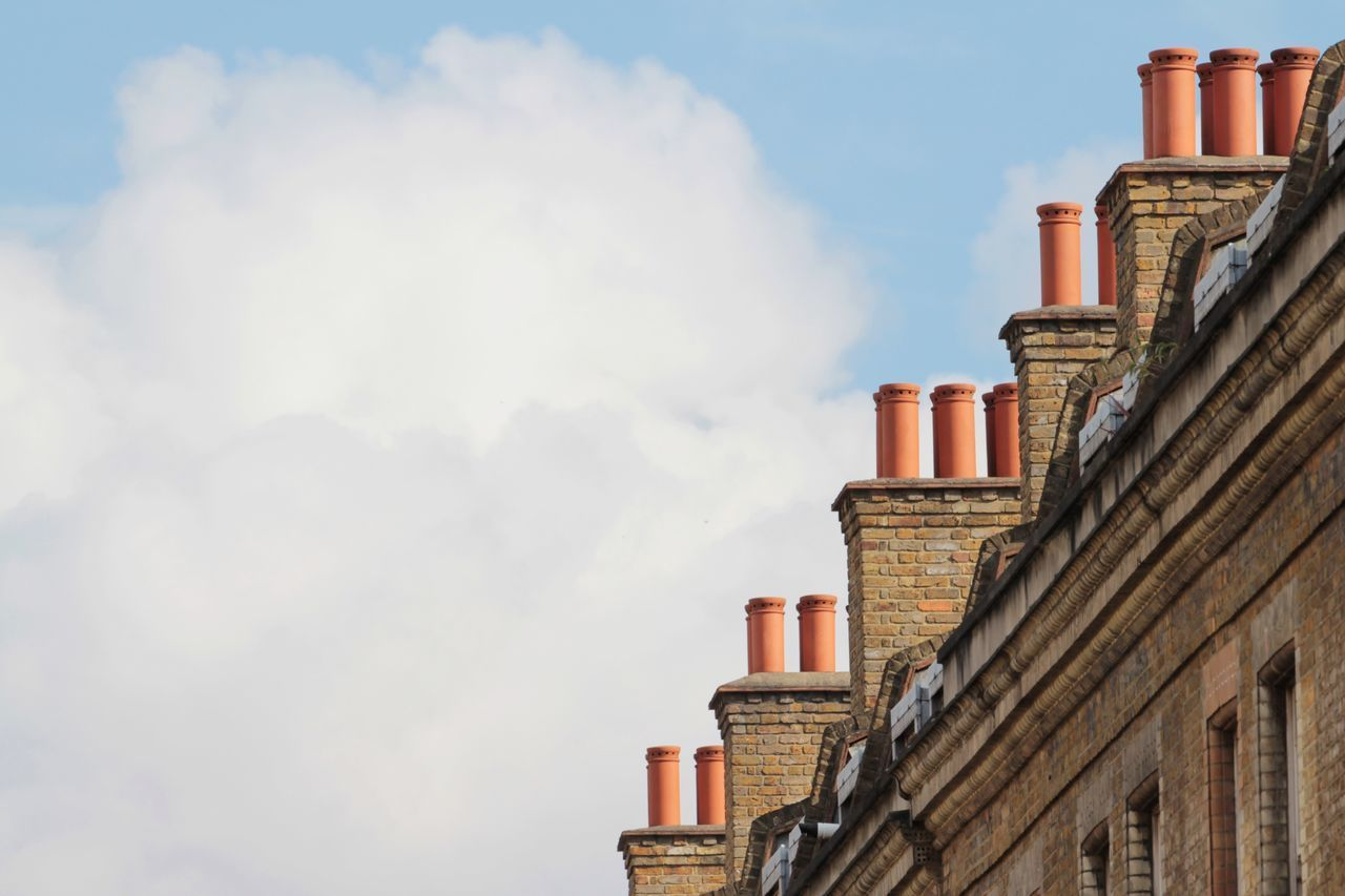 Architecture Building Exterior Built Structure Low Angle View Day Sky Outdoors No People Chimney Chimneys Repetition Cloud Cloud - Sky Bricks Roof Rooftop Clouds And Sky EyeEm Best Shots Urban Geometry In Line Brick Lane in London , United Kingdom MISSIONS: The Architect - 2017 EyeEm Awards The Street Photographer - 2017 EyeEm Awards