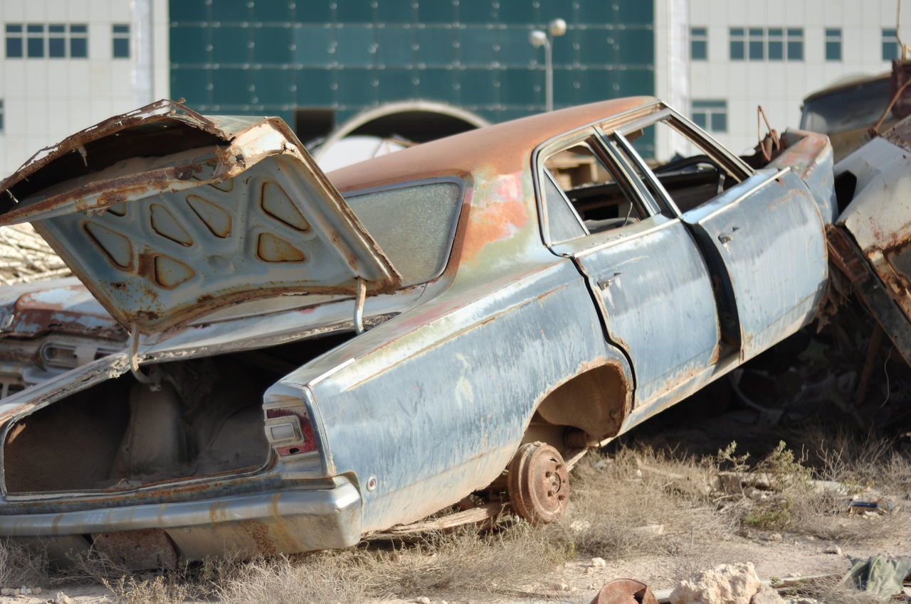 abandoned, damaged, obsolete, transportation, deterioration, destruction, run-down, mode of transport, car, rusty, day, outdoors, no people