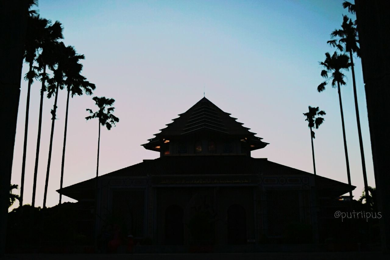 architecture, built structure, tree, low angle view, sunset, building exterior, silhouette, religion, sky, clear sky, place of worship, no people, spirituality, outdoors, day, nature