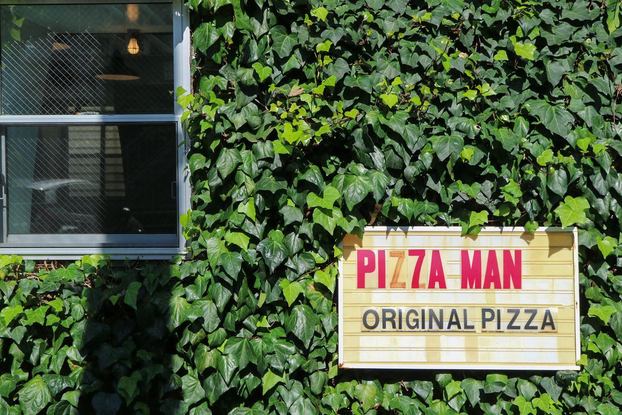 Pizza Man pizza shop Façade Green Color Leaf No People Outdoors Pizza Pizza Man Restaurant S Pizzeria