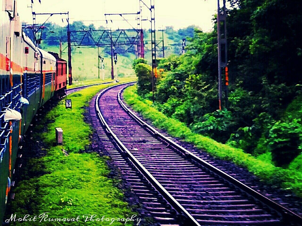 railroad track, transportation, rail transportation, day, public transportation, no people, plant, outdoors, tree, nature, sky