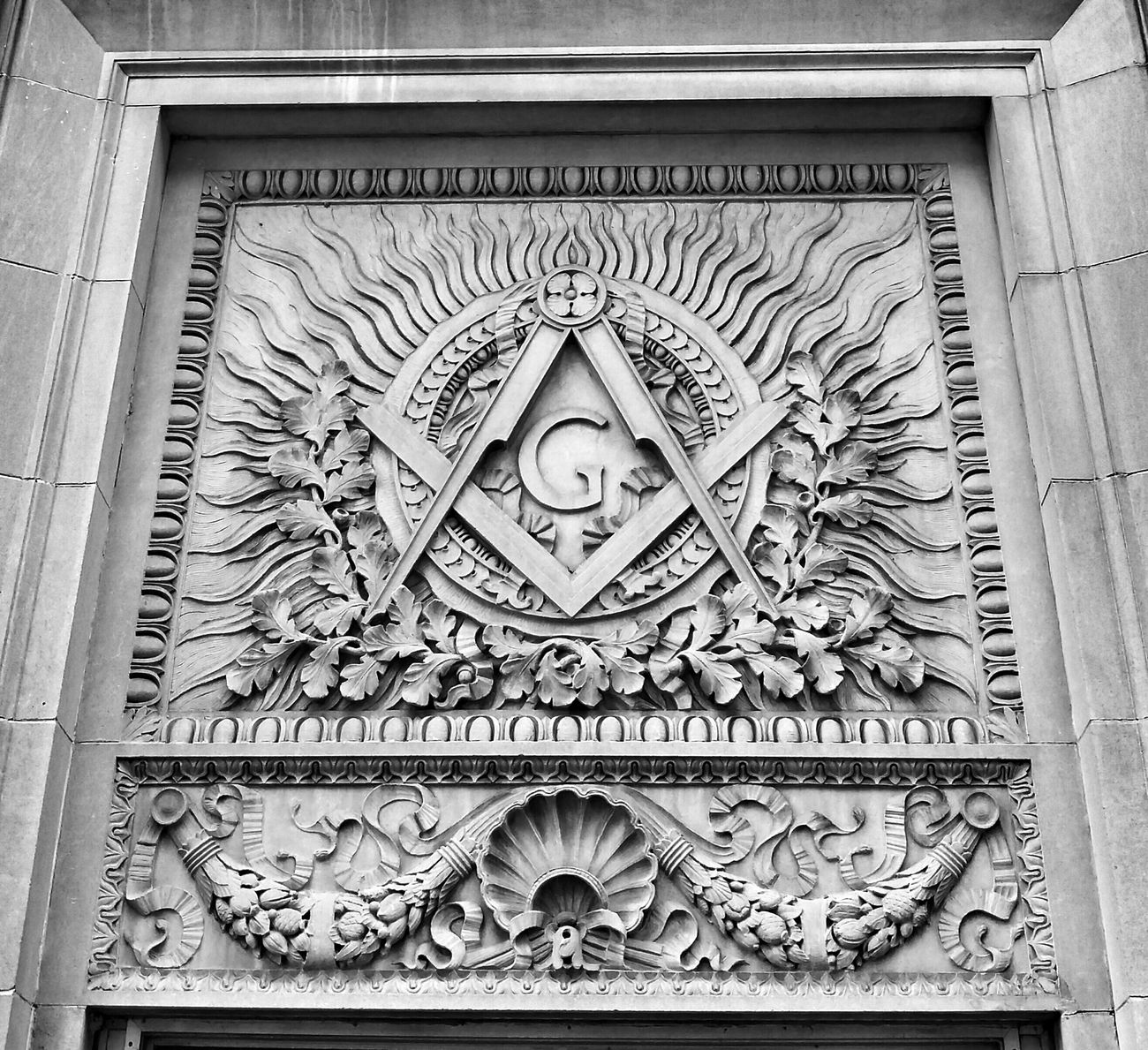 Freemason Sign Beautiful Stonework Relief Sculpture