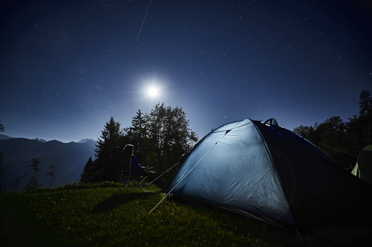 tent, camping, night, star - space, moon, nature, astronomy, sky, grass, beauty in nature, scenics, tranquility, moonlight, adventure, outdoors, no people, tree, space exploration, illuminated, clear sky, galaxy, star trail
