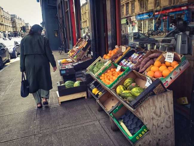 City Colours Day Glasgow  Scotland Scottish Shop Street Streetphotography Summer The Shop Around The Corner Vibrant Grocer Fruit Vegetables Back Of Woman IPhone IPhoneography Display Customer