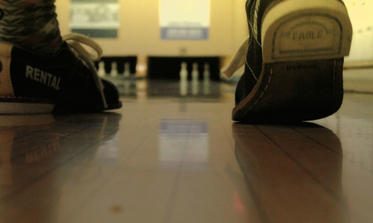 Bowling Bowling Alley Bowling Shoes Close-up Feet Focus On Foreground Good Times Indoors  Low Section Pastel Pins Rear View Recreation  Reflection Rental Shoes Sports Wood Floor