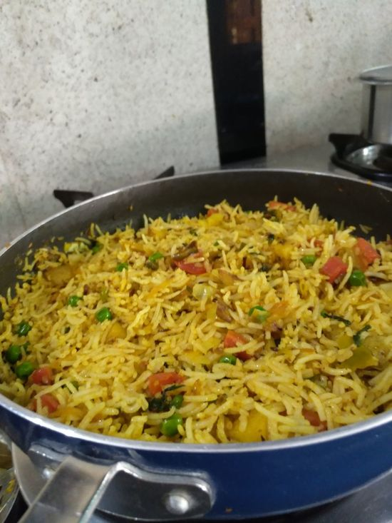Food And Drink Indoors  Food High Angle View Vegetable Ready-to-eat Close-up Healthy Eating Frying Pan Indian Food Indianphotography Pulao Pilao Colorful Basmati Basmati Rice No People Freshness Day Veg Pulao..cooked by Me Art Is Everywhere Visual Feast Paint The Town Yellow
