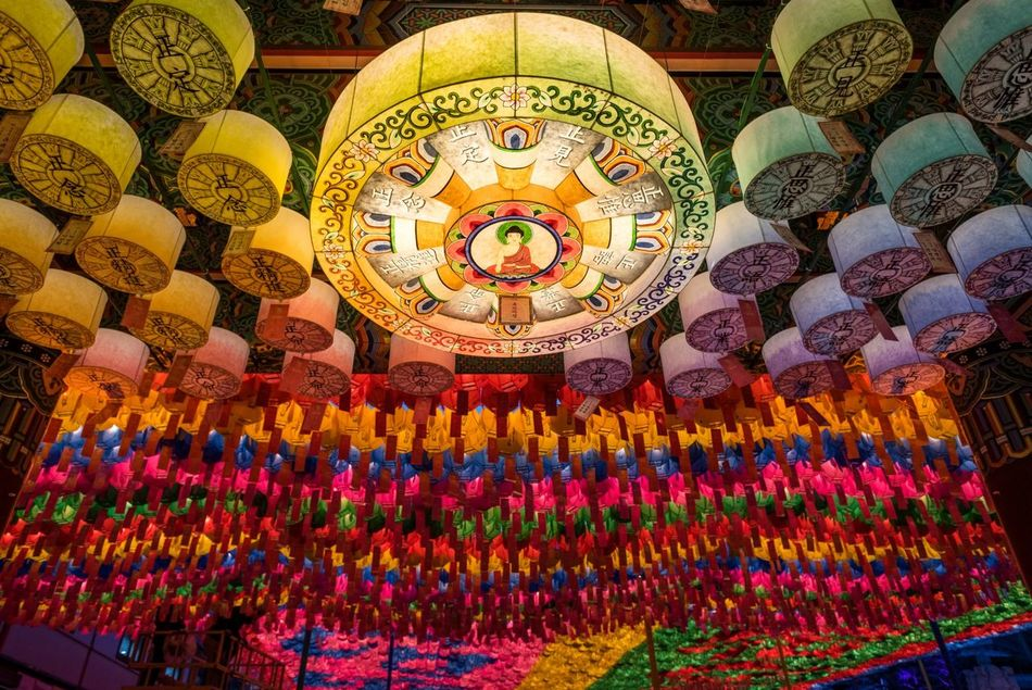 Jogyesa Jogyesa Temple Temple Buddhist Buddhist Temple Buddhist Monks Seoul Insadong No People Hanging Lanterns Spring Multi Colored Colorful South Korea Festival Seoul, Korea Illuminated Low Angle View ASIA City