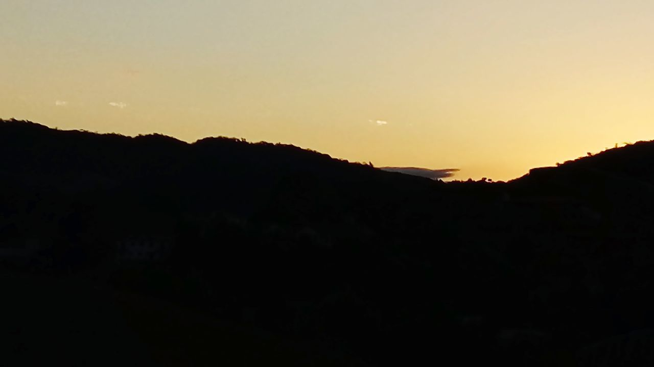 sunset, silhouette, nature, beauty in nature, scenics, mountain, tranquil scene, no people, landscape, tranquility, moon, sky, outdoors, clear sky, night, astronomy