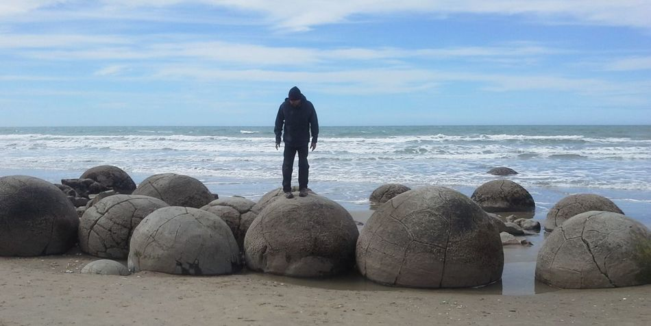 Moeraki Boulders- East Coast New Zealand Alien Like Amazing Awesome_nature_shots Beach Beauty In Nature Boulders Cloudy Skies Geology Moeraki Boulders Nature New Zealand Landscape New Zealand Scenery Ocean Pods Rocks And Water Tourism Tourist Attraction  Waves, Ocean, Nature